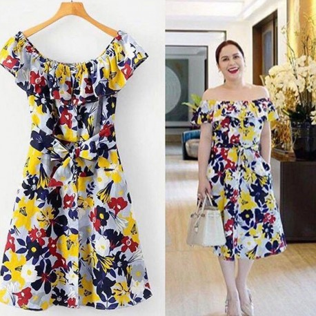 Buttoned Up OS Dress with Ribbon & Pockets